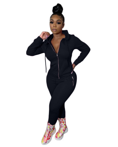 Black Two-piece suit with personalized zipper