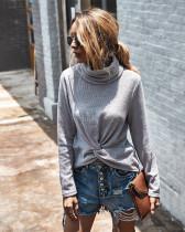 Turtleneck solid color sweater