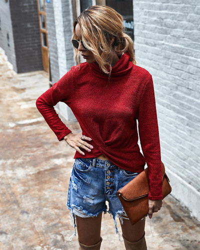 Red Turtleneck solid color sweater