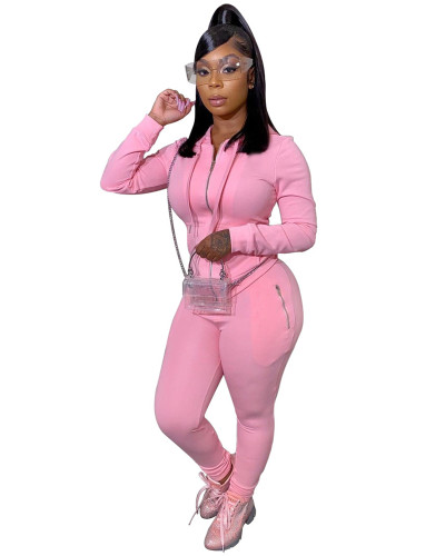 Pink Two-piece suit with personalized zipper