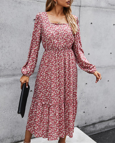 Pink New product retro square collar long dress