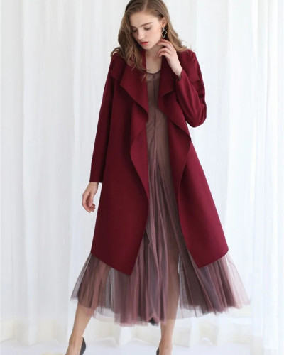 Red long-sleeved stitching cardigan woolen coat