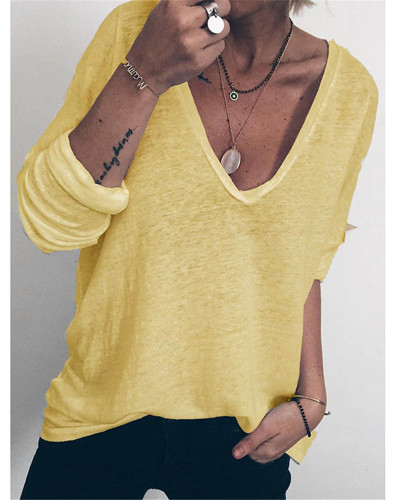 Yellow Casual loose long sleeve V-neck printed T-shirt