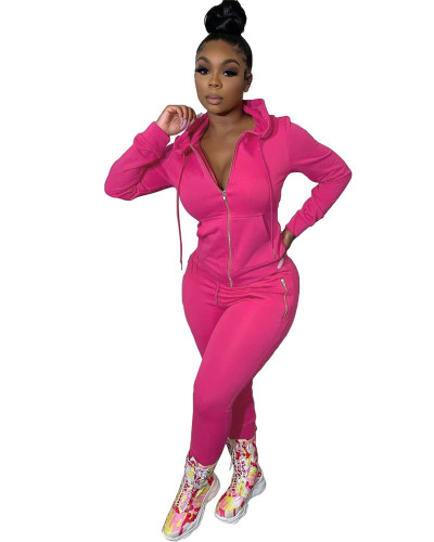 Rose Red Two-piece suit with personalized zipper