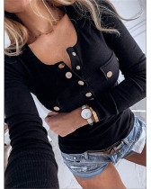 Black Solid color long-sleeved bottoming shirt sweater top