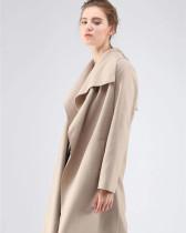 Apricot long-sleeved stitching cardigan woolen coat