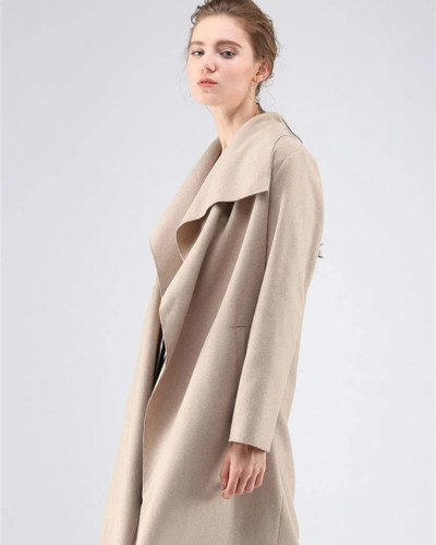Apricot long-sleeved stitching cardigan woolen coat