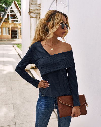 Blue Sexy off-shoulder long-sleeved T-shirt