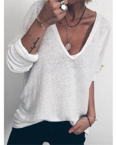 White Casual loose long sleeve V-neck printed T-shirt