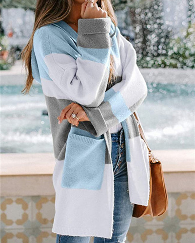 Blue European and American contrast color hooded knitted cardigan