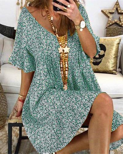 Bule Women's loose flared sleeve printed dress
