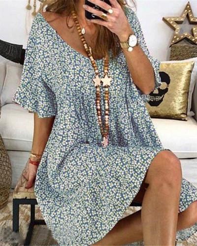 Sky bule Women's loose flared sleeve printed dress