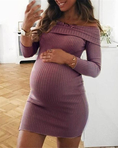 Violet Pure color one-shoulder dress maternity dress