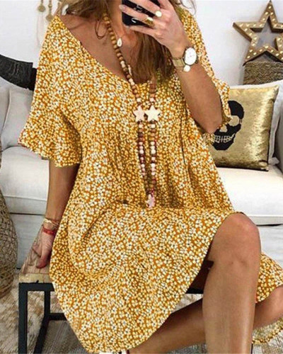 Yellow Women's loose flared sleeve printed dress