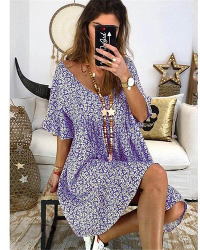 Violet Women's loose flared sleeve printed dress