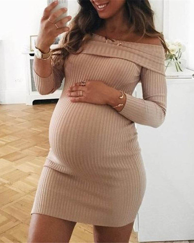 Khaki Pure color one-shoulder dress maternity dress