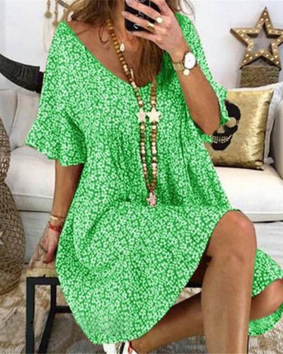 Dark green Women's loose flared sleeve printed dress