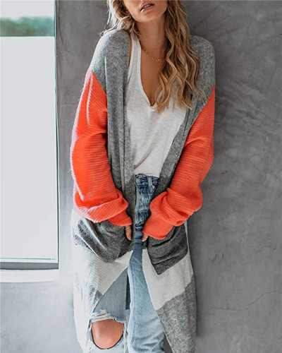 Orange Long lantern sleeve contrast cardigan sweater