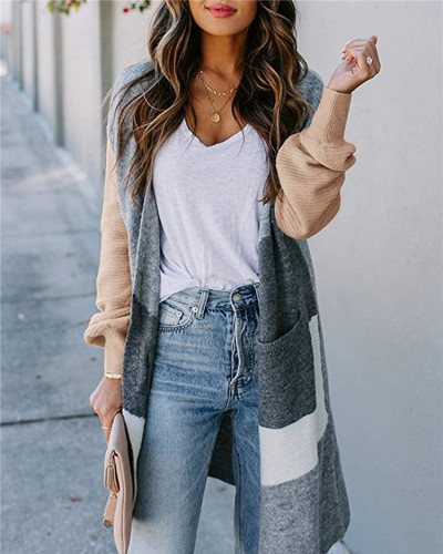 Khaki Long lantern sleeve contrast cardigan sweater
