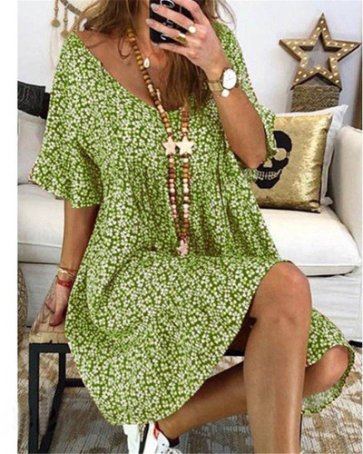 Green Women's loose flared sleeve printed dress