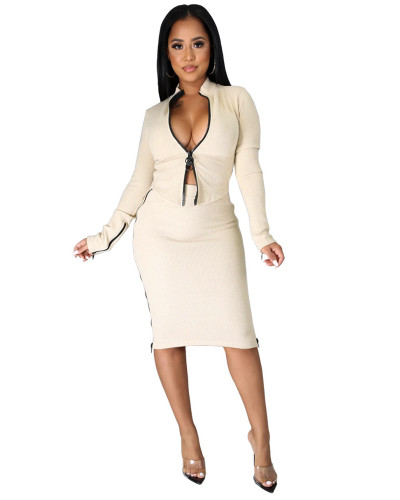 White Pit striped double zipper flared sleeve slit skirt