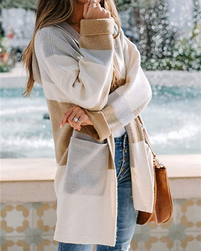 Khaki European and American contrast color hooded knitted cardigan
