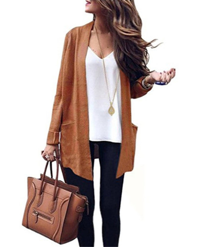 Khaki Long solid color big pocket knitted cardigan sweater