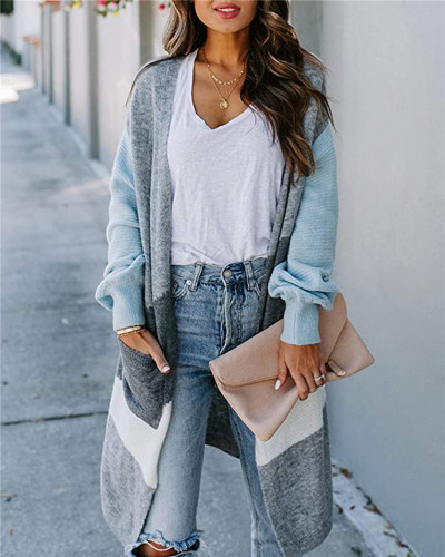 Blue Long lantern sleeve contrast cardigan sweater
