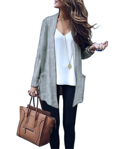 Gray Long solid color big pocket knitted cardigan sweater