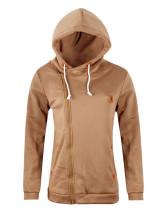 Khaki Sweatshirt women's sweatshirt cardigan hooded jacket