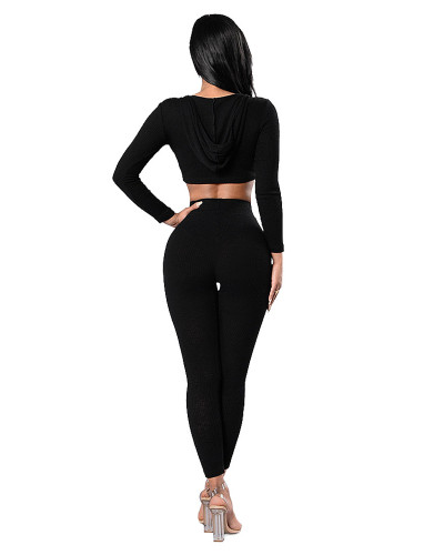 Black Pure color sports pit strip bandage hooded suit