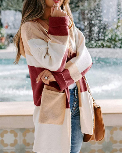 Red European and American contrast color hooded knitted cardigan