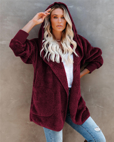 Red Silver Fox Fleece Hooded Cardigan Jacket