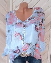 Bule Long-sleeved printed shirt V-neck button top chiffon shirt