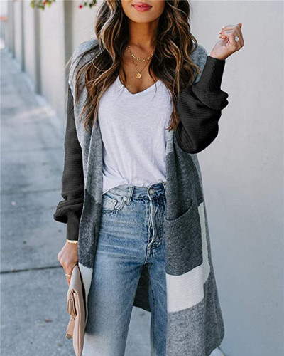 Black Long lantern sleeve contrast cardigan sweater