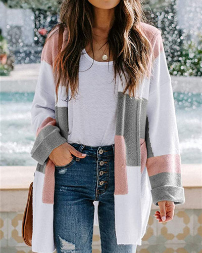Pink European and American contrast color hooded knitted cardigan