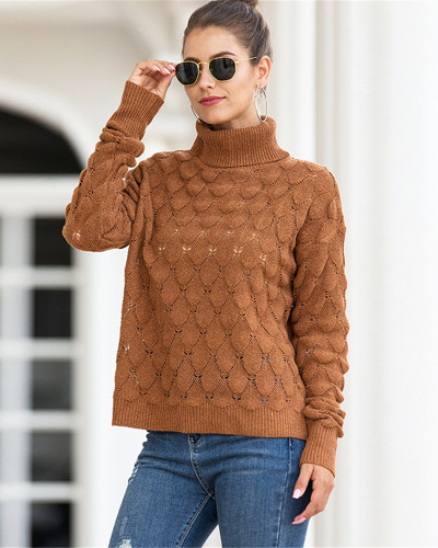 wish high neck pullover fish scale sweater
