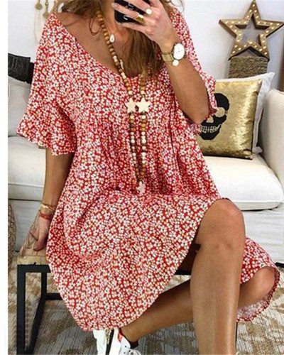 Red Women's loose flared sleeve printed dress