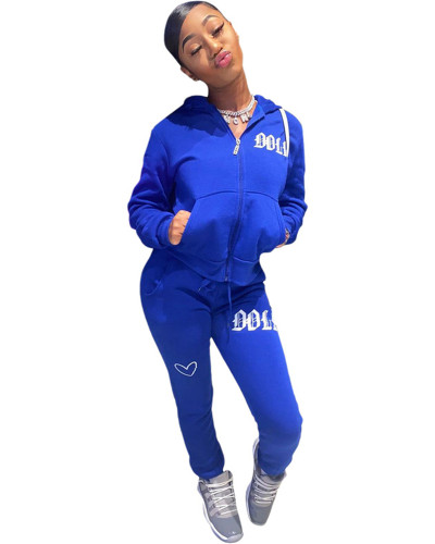 Blue Solid color embroidered letters hooded sports suit