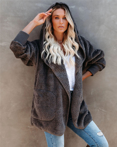 Dark Gray Silver Fox Fleece Hooded Cardigan Jacket