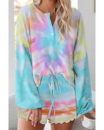 Tie-dye printed casual long-sleeved shorts suit