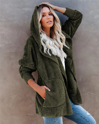 Green Silver Fox Fleece Hooded Cardigan Jacket
