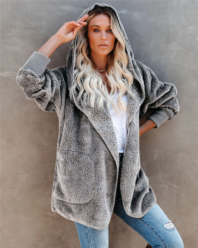 Light Gray Silver Fox Fleece Hooded Cardigan Jacket