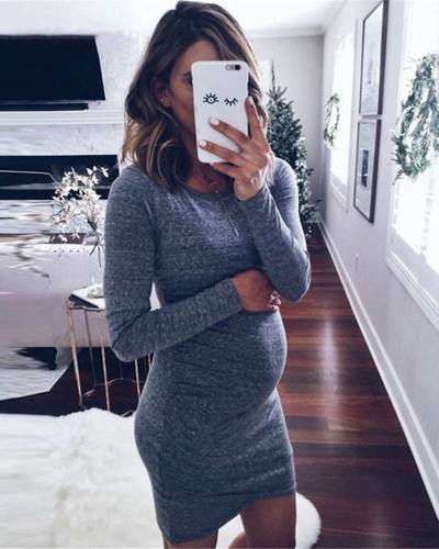 Dark gray Pure color round neck long sleeve maternity skirt dress