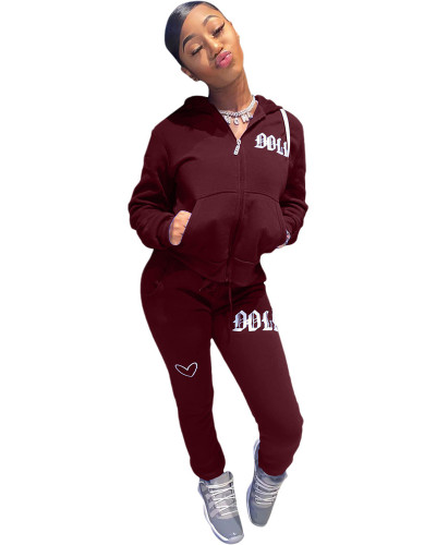 Red Solid color embroidered letters hooded sports suit
