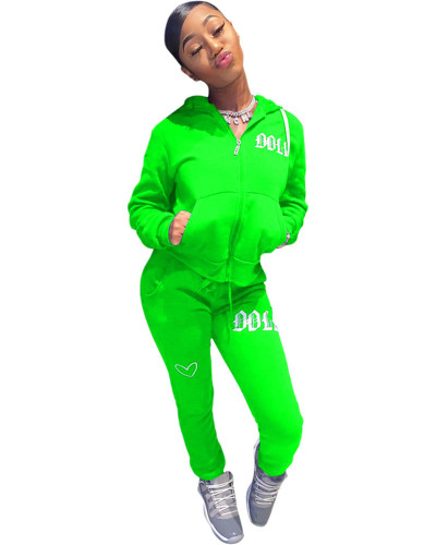 Green Solid color embroidered letters hooded sports suit