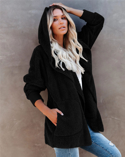 Black Silver Fox Fleece Hooded Cardigan Jacket