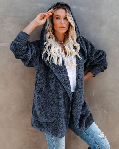 Blue Silver Fox Fleece Hooded Cardigan Jacket