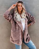 Pink Silver Fox Fleece Hooded Cardigan Jacket