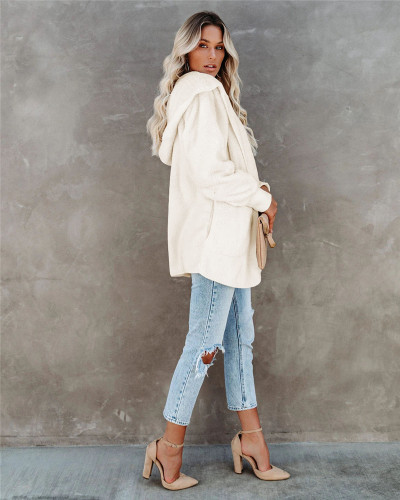 White Silver Fox Fleece Hooded Cardigan Jacket